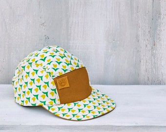 Kids Size Handmade 5 Panel Camp Hat, Sun Hat, Soft-brim cap, Yellow Floral Print Summer Hat