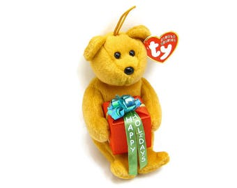 """GIFTS BEANIE BEAR By """"Ty"""", Vintage Jingling Ornament, Plush-Fur Animal, Mint New Original Tags, Holiday Christmas Decor, 3 Petunia Place"""