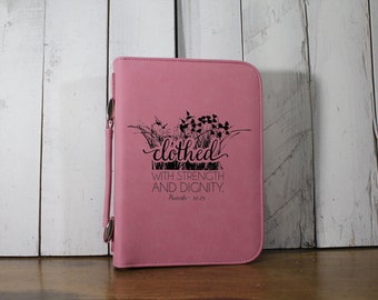 Bible Cover - She is Clothed in Strength and Dignity /Proverbs 31:25/Bible Verse/Mother's Day Gift/Leatherette/Zipper/Fast Shipping