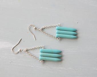 Turquoise howlite spike dangle earrings
