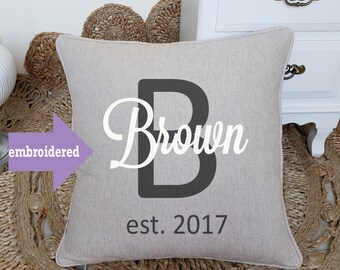 Personalized Last Name With date, home decor, wedding gift, engagement present, housewarming, Embroidered cushion cover, throw pillow