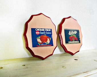 Vintage Kitchen Decor, Apples and Berries, Fruit Decor, Kitchen Walls, Red Apples, Red Berries, Vintage Kitchen, Fruit Can Labels, Two