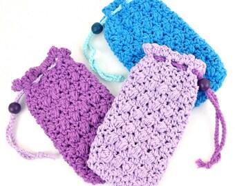 Large Soap Saver Lavender Soap Pouch Purple Soap Bag Aqua Blue Soap Holder Soap Cozy Cotton Crochet Bath Accessories Shower Drawstring Bag