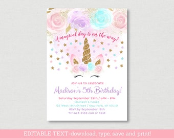 Unicorn Birthday Invitation / Unicorn Birthday Invite / Gold Glitter Unicorn / Floral Unicorn / Magical Day / EDITABLE PDF TEMPLATE A451