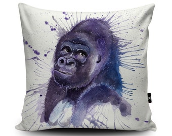 Gorilla Illustration Cushion by Katherine Williams | Gorilla Pillow | Gorilla Cushion Cover | Monkey Pillow Case | Ape Cushion Jungle Decor