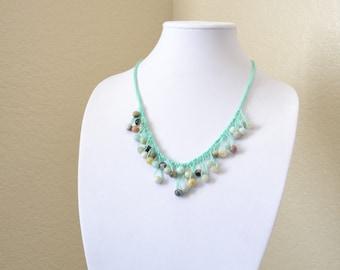 Mint crochet statement necklace