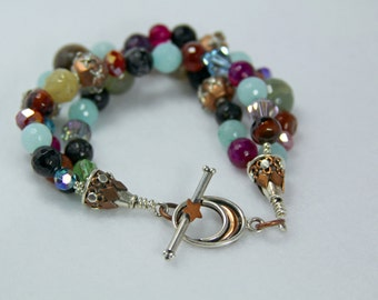 Copper and Silver Star Bead Bracelet