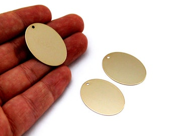 5 pcs 23x32 mm 24k Shiny Gold Plated Oval, Brass Stamping Blank, Oval Charm, Oval Findings