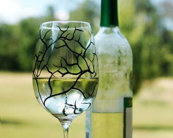 Painted Wine Glasses - Black Tree Branch Wine Glasses - Set of 4 Hand Painted Glasses