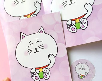 Maneki Neko Lucky Kitty good luck greeting card, Maneki-neko, japanese cat, kawaii note card