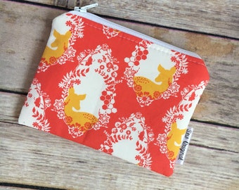 Coin Pouch, Change Pouch, Change Purse, Deer Fabric, Coral Fabric, Zipper Pouch, Mothers Day, Gift for Her