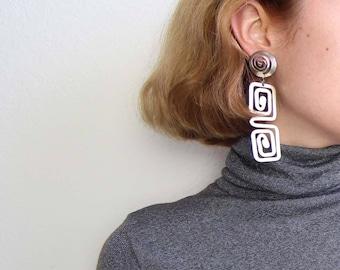 VINTAGE Earrings Long Silver Dangle 1980s Meander Greek Pierced