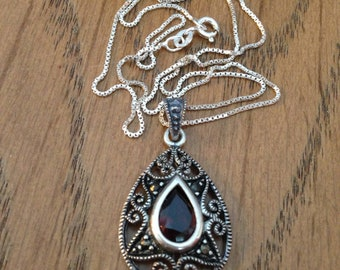 Red Garnet Sterling Silver Pendant Necklace