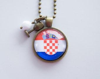Flag of Croatia Necklace - Croatian Flag - World Flags - Patriotic Pendant - Custom Jewelry - Travel Necklace - Flag Jewelry Eastern Europe