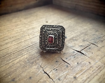 Tiered Ring Garnet Marcasite Sterling Silver Jewelry, Garnet Ring Art Deco
