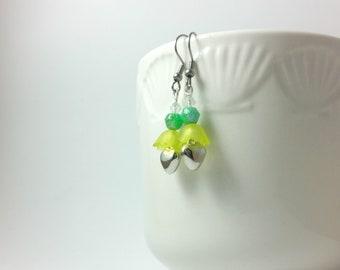 Bright green ladies, stainless steel earrings, green earrings, heart earrings, flower earrings, boho earrings, lightweight earrings, green
