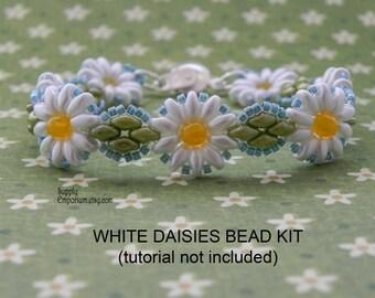 White Daisies Beadweaving Bracelet Pack BB6 - Tutorial Sold Separately - Bead Pack bb-6 for Daisy Bracelet