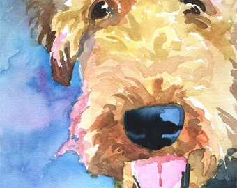 Airedale Terrier Art Print of Original Watercolor Painting