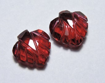 2 Pcs Very Attractive Red Quartz Faceted Hand Carved Leaves Shape Gemstone Beads Size 12X12 MM