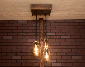 Ceiling light/ Mason Jar Chandelier/ Reclaimed Wood and 4 Pendants/  R-1212-CMJ-4/ Mason Jar Lights