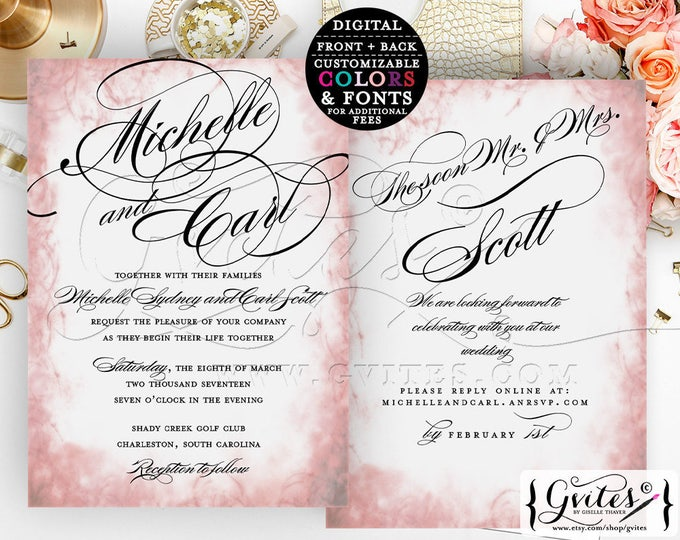 Blush pink wedding invitations, blush pink wedding printables, pink wedding invites, double sided, modern digital download, customizable.