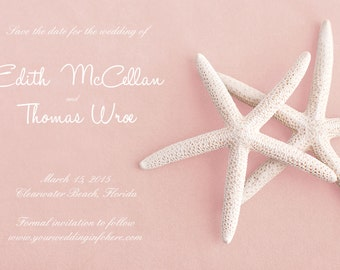 25 magnets per set- 4x6 Wedding save the date Magnets- WHITE STARFISH on pink