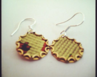 NEEDLEPOINT Vintage Tea Tin Floral Earrings