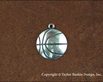 Basketball Jewelry Scrapbooking Charm Finding in Antique Silver Plate (item 1524 AS w/Loop) - 6 Pieces