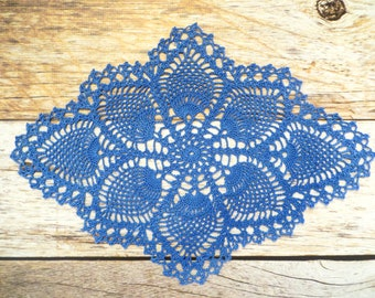 Delft Blue Pineapple Oblong Crochet Doily