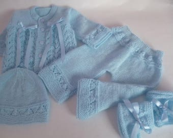 Newborn Set, Knitted Baby Set, Coming Home, Take Home, Christening Boy Set, Baby Shower, Knitted Suit, READY TO SHIP, 0 to 3 Months