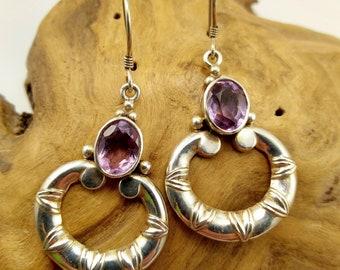 Vintage Sterling Silver and Amethyst Hoop Earrings