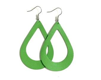 Large Leather Earrings; Leather Earrings; Leather Tear Drop Earrings; Green Leather Earrings; Lightweight Earrings; Statement Earrings