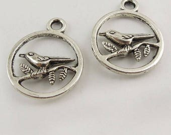 10 charms silver metal bird Locket