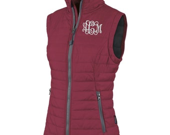 Monogram Womens Quilted Vest. Monogrammed Vest. Custom Ladies Vest. Charles River Radius Quilted Vest  Personalized Vest. CR: 5535
