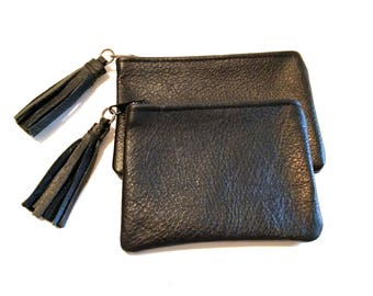Black Zipper Coin Card Case Tassel Wallet