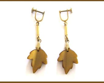 Vintage Thermoset Lucite Earrings Brown Maple Leaf