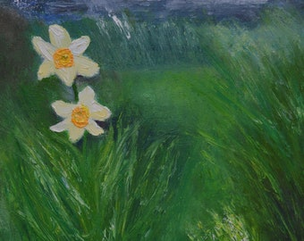 The Last Dafodils of Spring, oil painting on canvas 40x30 cm