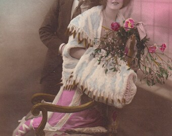 Romantic vintage French lovers postcard . Couple Love card .