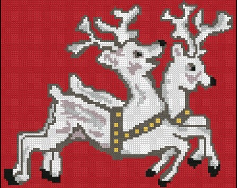 Retro Two Reindeer Digital  Needlepoint or Cross Stitch pattern