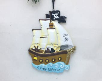 Pirate Ship Personalized Christmas Ornament / Child Christmas Ornament /Toddler Ornament / Hand Personalized