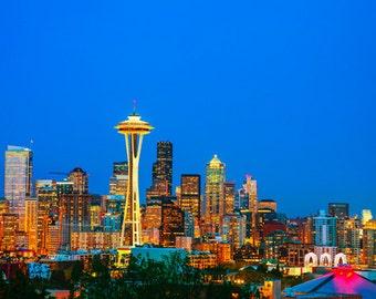 United States - Washington - Seattle at dusk - SKU 0170