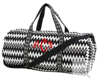 Monogram Duffle Bag Zig Zag Print Duffle Bag Cotton Duffle Bag Black Chevron Duffle