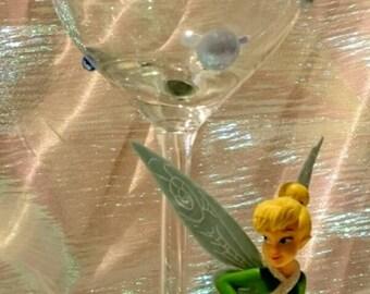 Tinkerbell Figurine Glitter Wine Glass