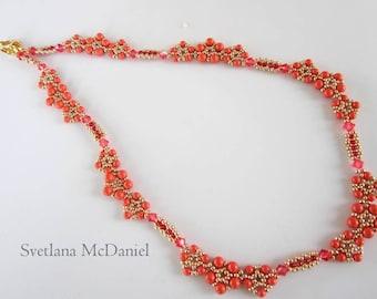 PDF beaded coral necklace tutorial - seed bead- beading-Swarovski pearl crystal