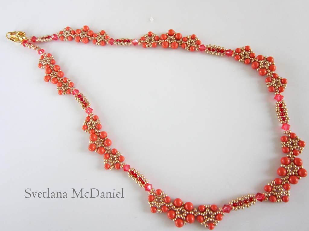 PDF beaded coral necklace tutorial seed bead