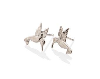Silver Hummingbird Earrings 925 Sterling Silver , Hummingbird Stud Earrings
