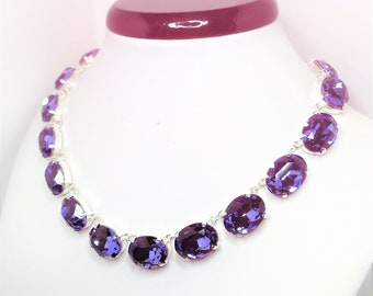Swarovski Crystal Tanzanite Necklace Anna Wintour Style Necklace Purple Georgian Collet Statement Choker Designer Inspired LynnsGemCreations