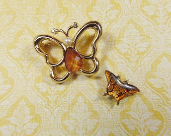 TWO ITEMS for One Price -Vintage Gold Butterfly Brooch & Petite Orange Butterfly Tack-BUT-94 - Butterfly Orange Tack