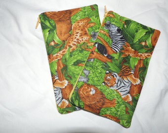 Reusable Zipper Snack Bags BPA Free Eco Friendly Set of 2 Jungle Animal Print