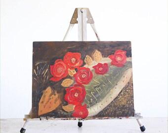 Vintage Southwestern Painting / Cactus Painting / Original Outsider Art / Boho Decor